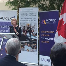 Kim Morouney speaking at funding announcement